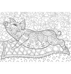 adult coloring bookpage a cute pig on an abstract vector image