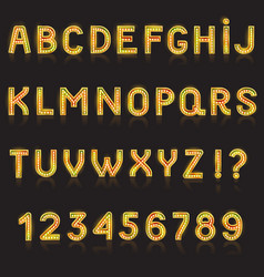 alphabet abc glowing alphabetical font with vector image