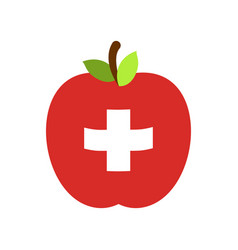 apple switzerland flag swiss national fruit vector image