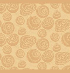 Bakery wrap with cinnamon bun seamless pattern vector