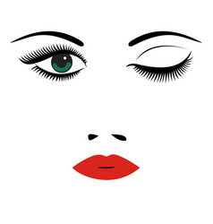 Beautiful womens portrait long lashes red lips vector