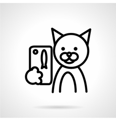 Black line cat with phone icon vector