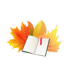 Book and autumn leaves flat vector