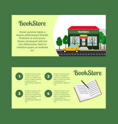 book store horizontal flyers vector image