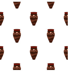 Brown ceramic vase pattern seamless vector