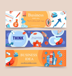 Business banner design with building money vector