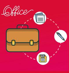 Business briefcase floppy pen paper office vector