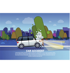 car accident concept broken car on road at night vector image