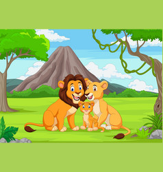 cartoon family lion in jungle vector image