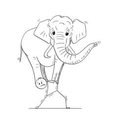 cartoon of man or businessman carrying elephant vector image