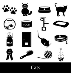 Cats pets items simple black icons set eps10 vector