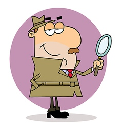 Caucasian Cartoon Investigator Man vector image