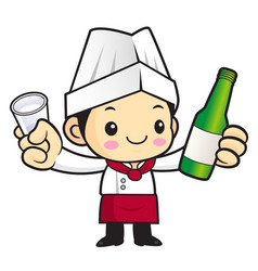 chef character holding a distilled spirits toast vector image