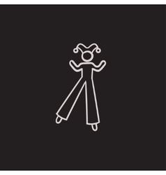 Clown on stilts sketch icon vector image