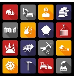 Coal industry icons flat vector image