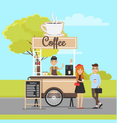 Coffee mobile van and cheerful couple in park vector