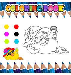 coloring book relaxing duck cartoon vector image