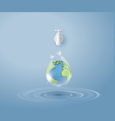 concept ecology and world water day paper art vector image