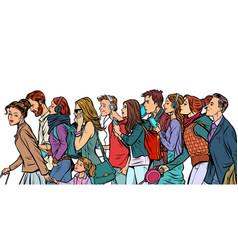 crowd pedestrians men and women vector image