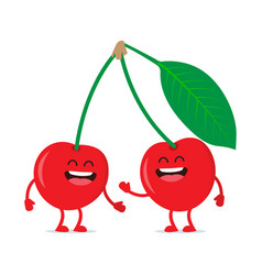 Cute cherry character vector