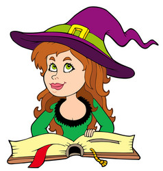 cute girl witch reading book vector image