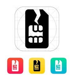 Damage sim card icon vector