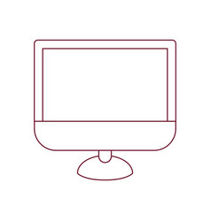 Dark red line contour of lcd monitor vector