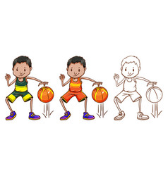 doodle character for basketball player vector image