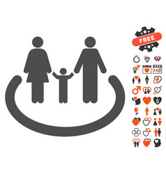 family area icon with lovely bonus vector image