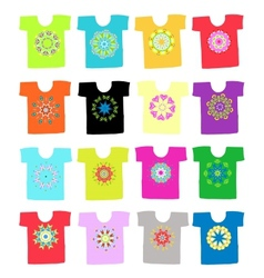 Floral ornament on white t-shirt collection for vector