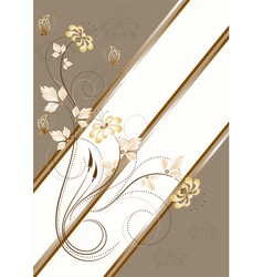 Flowers and butterflies on light brown striped bac vector image