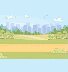 futuristic city in green valley among mountains vector image