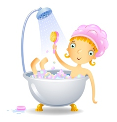 Girl in the shower vector image