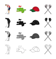 Golfer with stick golf course cap crossed clubs vector