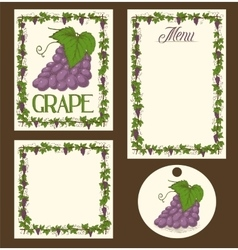 Grape Menu Pages Card and Tag Design Set vector image