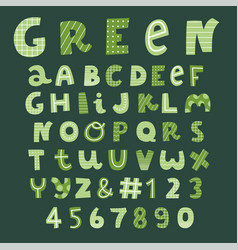 Green decorative font collection vector