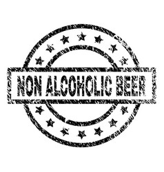 Grunge textured non alcoholic beer stamp seal vector