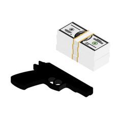 Gun and money vector
