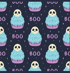 halloween seamless pattern with cupcake on dark vector image