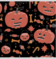 halloween seamless pattern with pumpkins bones vector image