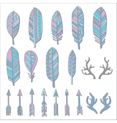 Hand drawn set with doodle antlers feathers vector