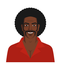 Handsome black man with retro afro hairstyle vector