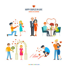 Happy couples in variety of settings situations vector