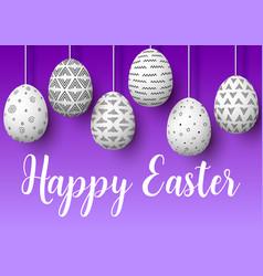 happy easter set of white pending easter eggs vector image