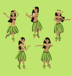 Hawaiian girls dancing hula vector
