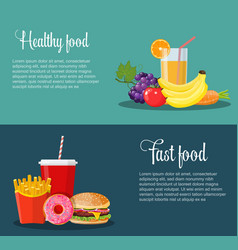 Healthy and unhealthy food banners vector