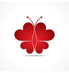 Heart make a butterfly vector