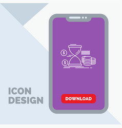 Hourglass management money time coins line icon vector