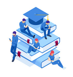 isometric online education training online vector image