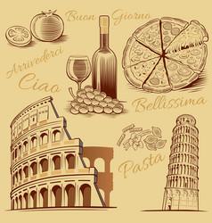 Italy-hand drawn pizza pisa tower colloseum vector